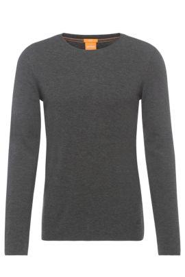 Slim-Fit T-Shirt aus Baumwolle mit Waffelstruktur, Anthrazit