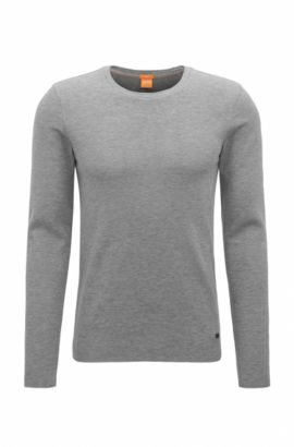 T-shirt Slim Fit en tissu gaufré, Gris chiné