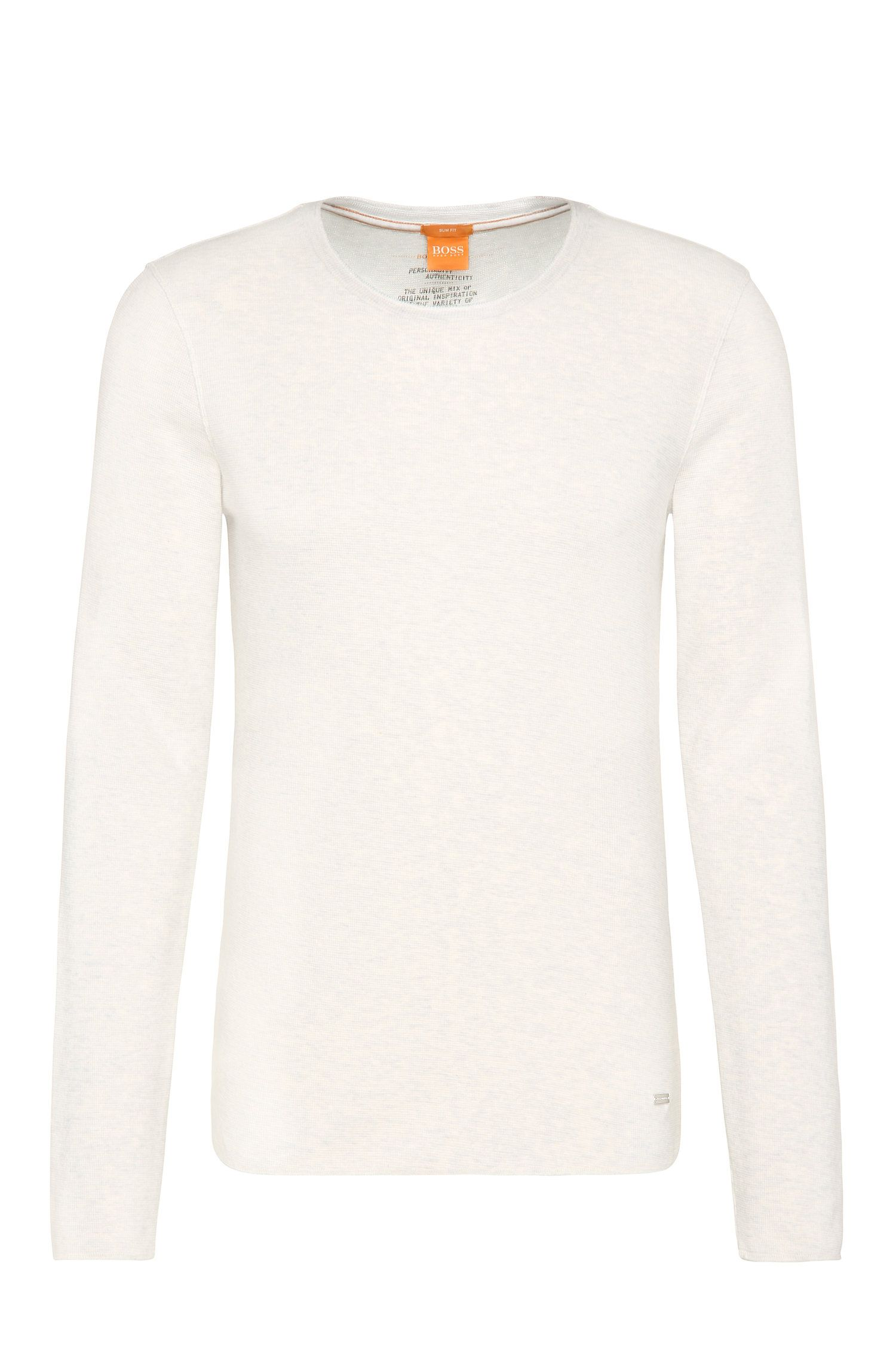 Slim-fit T-shirt in waffle fabric