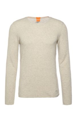 T-shirt slim fit in tessuto waffle, Naturale