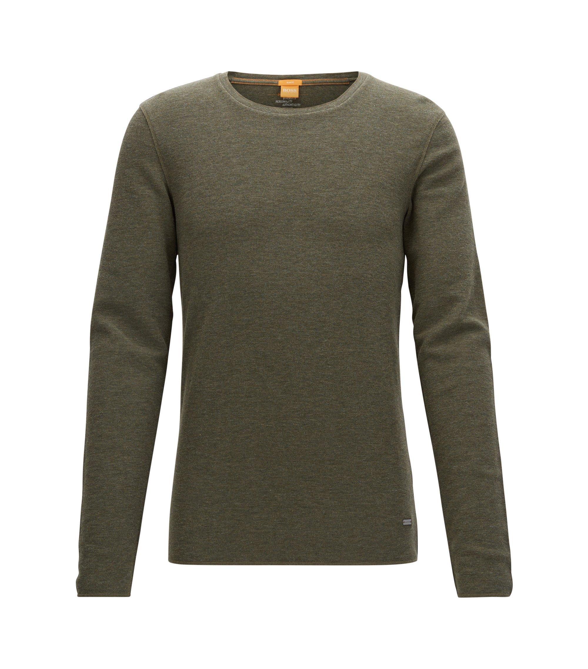 Slim-Fit T-Shirt aus Baumwolle mit Waffelstruktur, Dunkelgrün