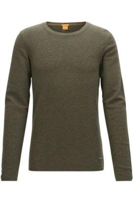 Slim-fit T-shirt van stof met wafelstructuur, Donkergroen