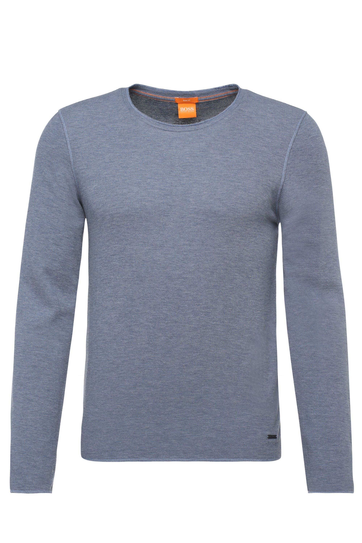 Slim-fit T-shirt van stof met wafelstructuur, Blauw