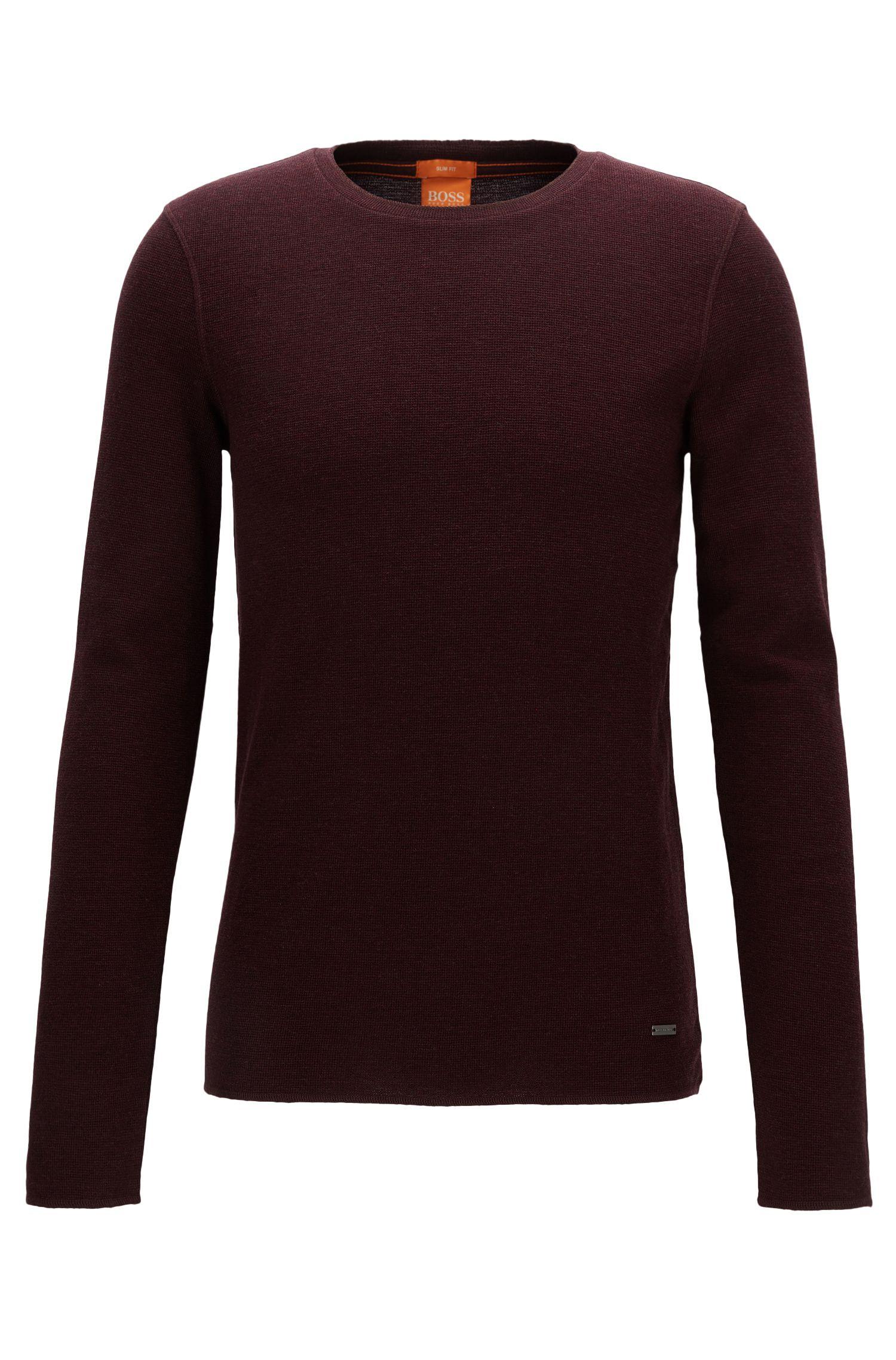 Slim-fit T-shirt van stof met wafelstructuur