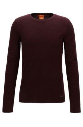 Slim-Fit T-Shirt aus Baumwolle mit Waffelstruktur, Dunkelrot