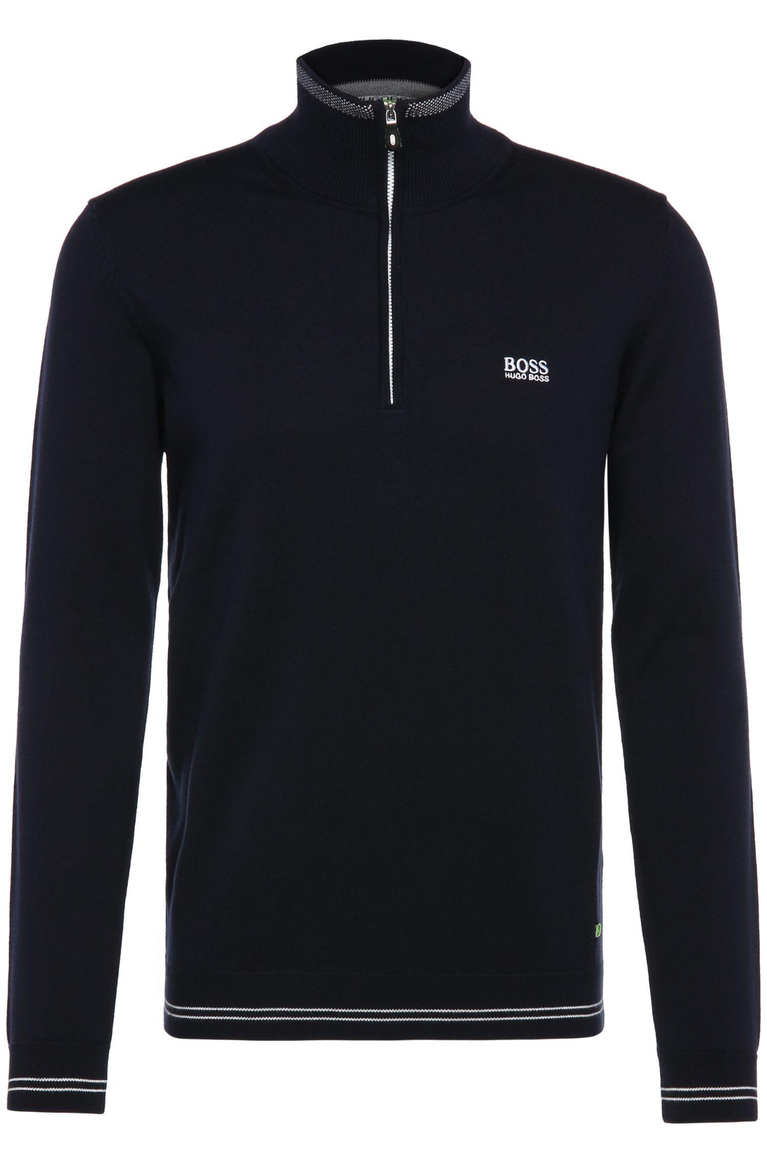 Fine knit sweater in cotton blend: 'Zime_W16', Dark Blue