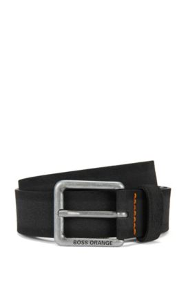 Suede belt with stitched highlights, Black