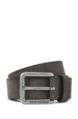 Suede belt with stitched highlights, Dark Grey