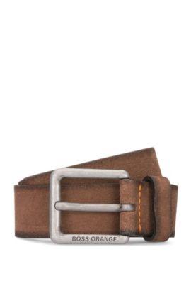 Gürtel aus Veloursleder mit Naht-Details, Hellbraun