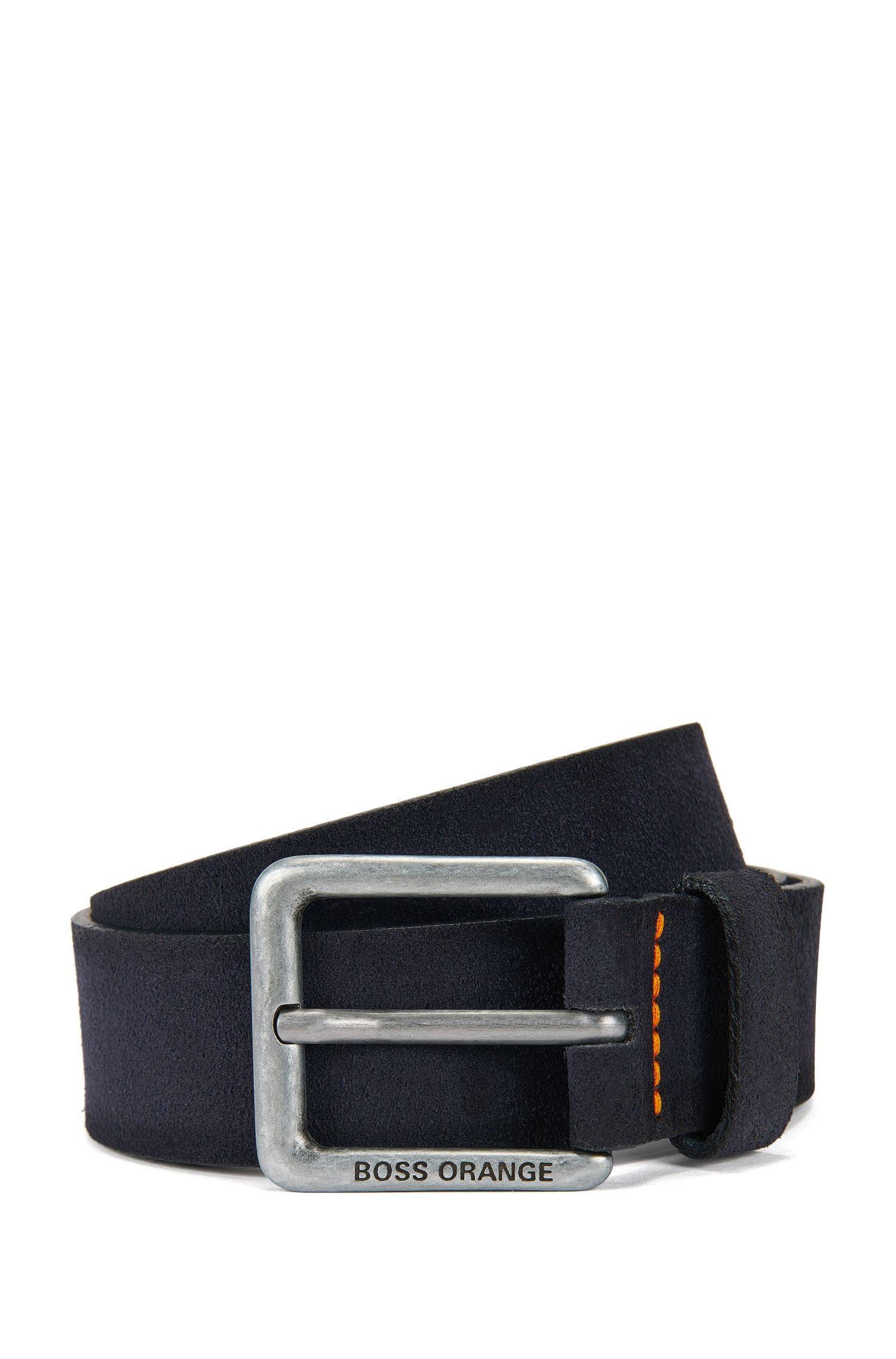 Suede belt with stitched highlights
