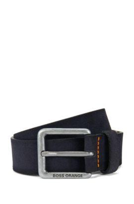Suede belt with stitched highlights, Dark Blue