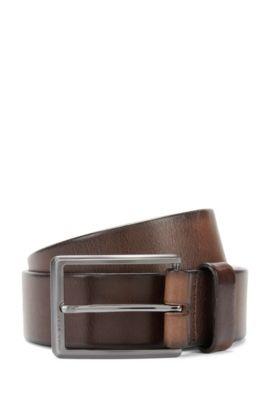 Belt in delicately embossed leather: 'Sammy_Sz35_Itpl', Dark Brown