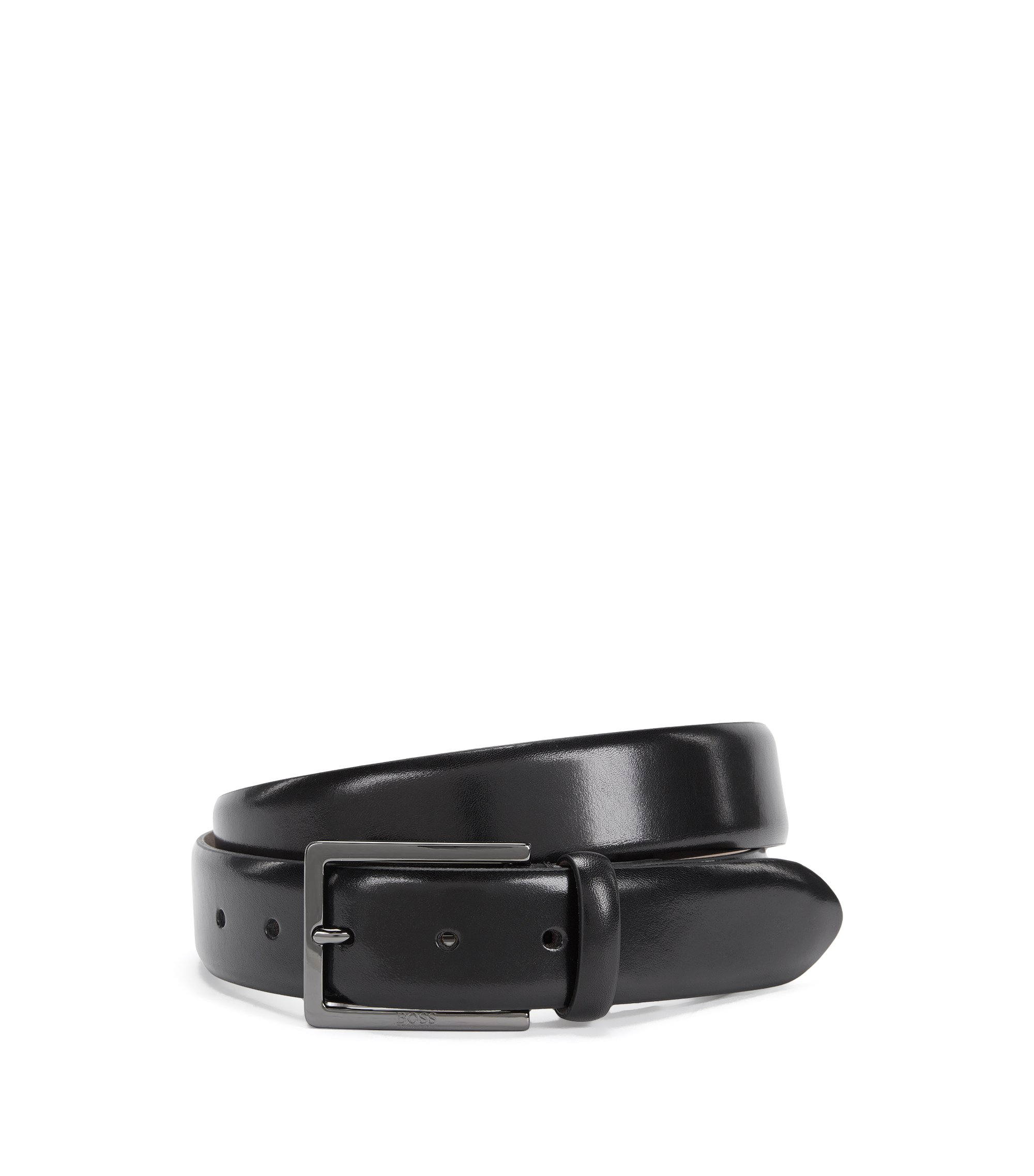 Nubuck-lined belt in vegetable-tanned leather, Black