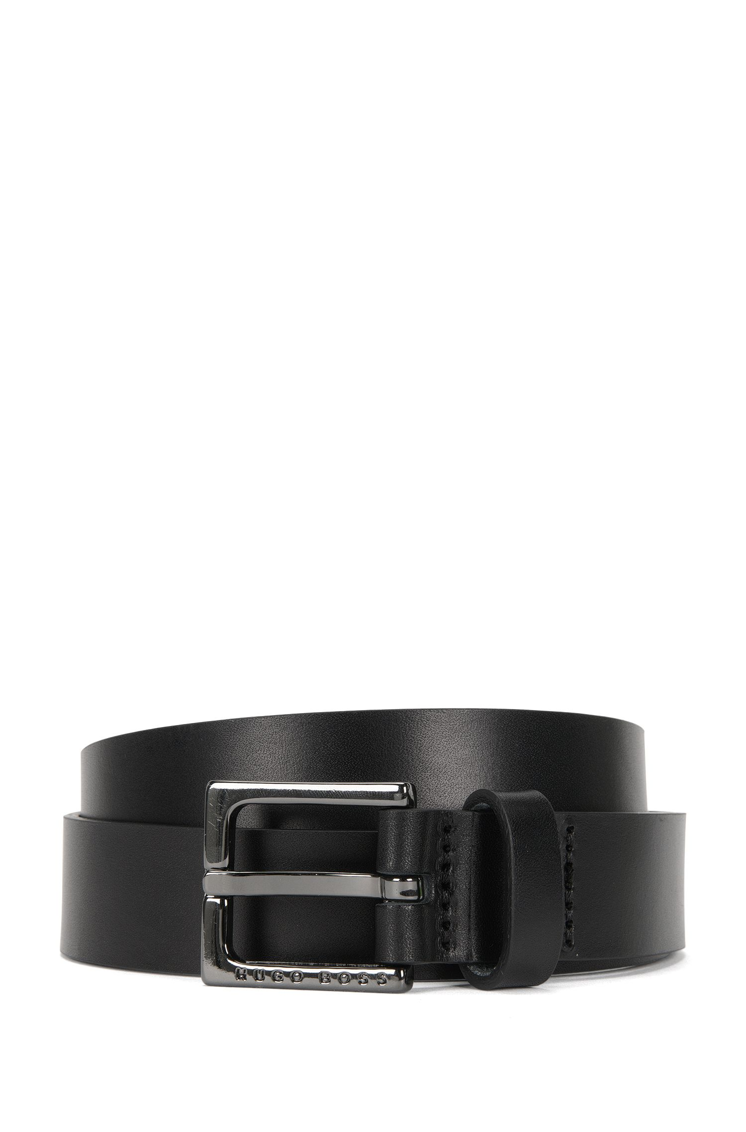 Leather belt with polished gunmetal pin buckle