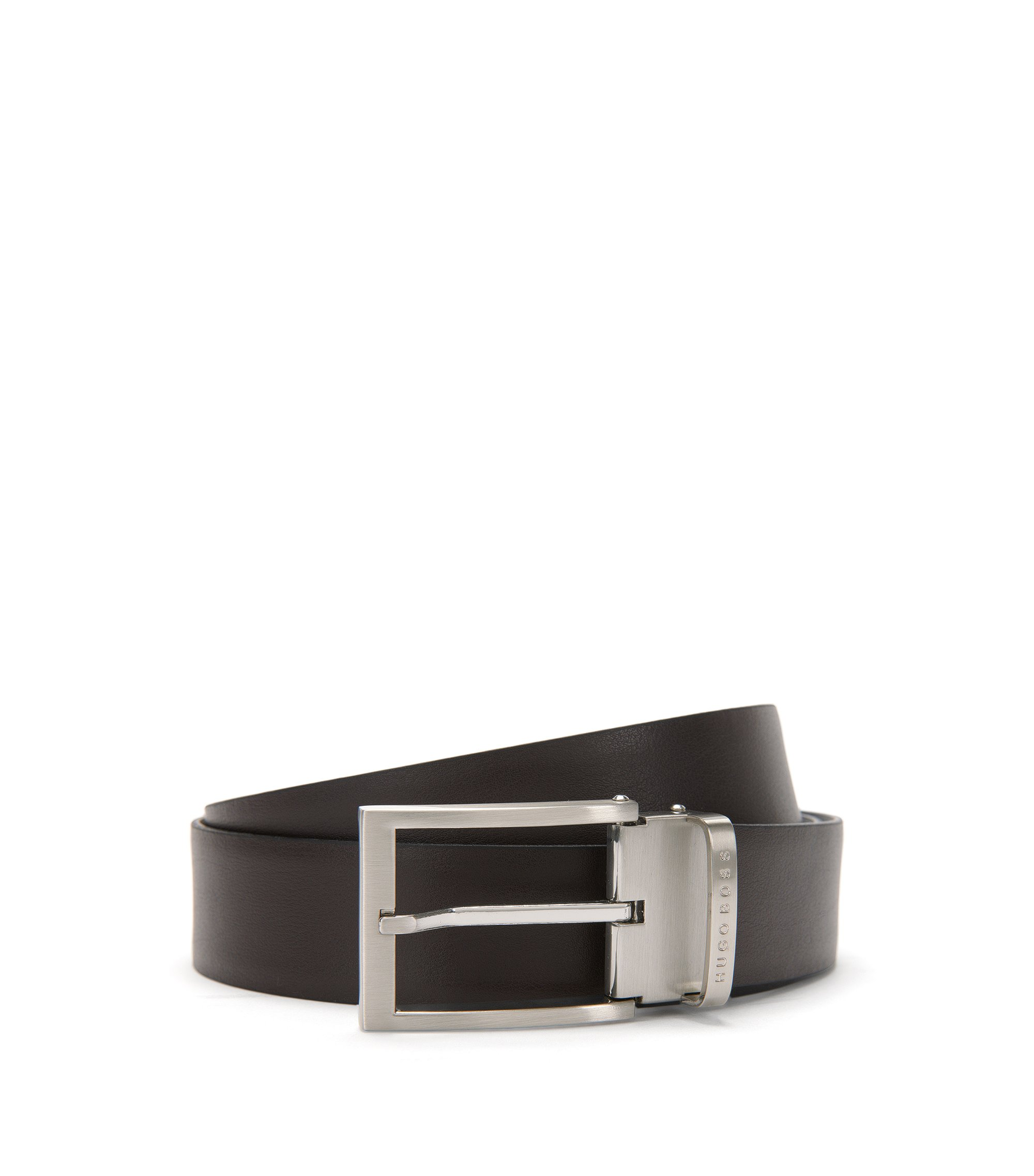 Reversible leather belt with pin buckle , Black