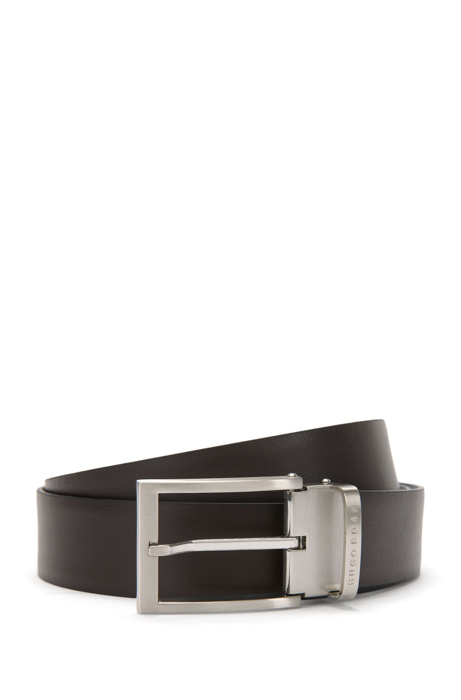 Reversible leather belt with pin buckle