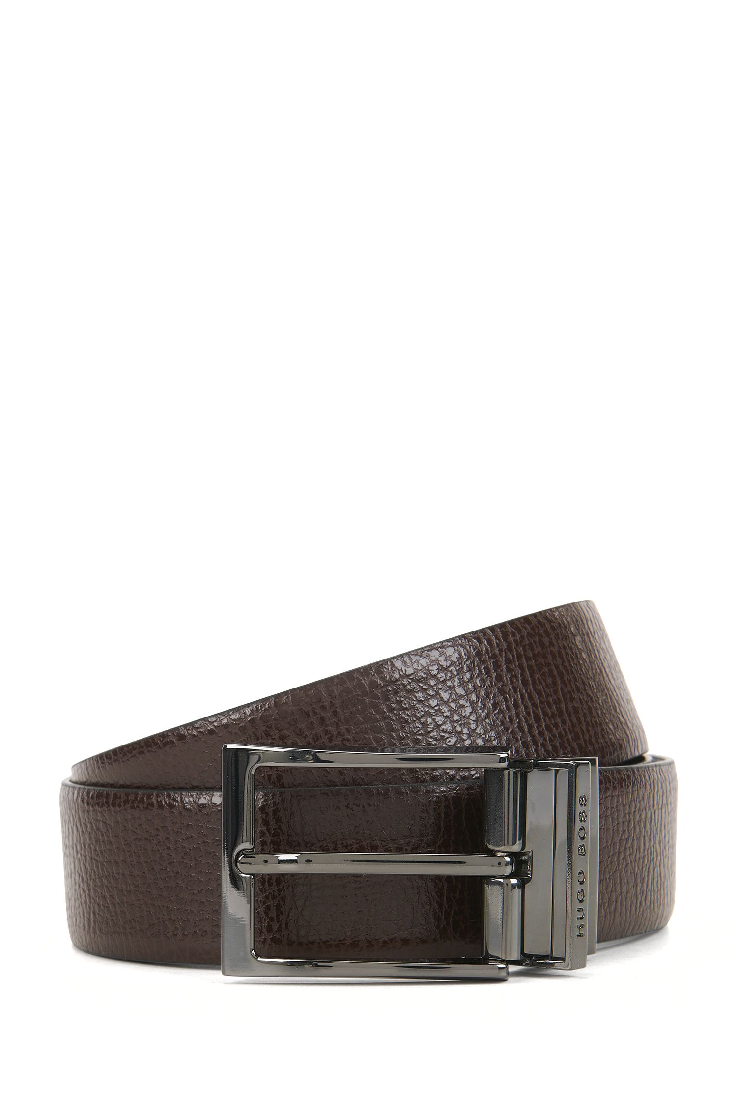 Reversible belt in contrast leather with engraved keeper, Black