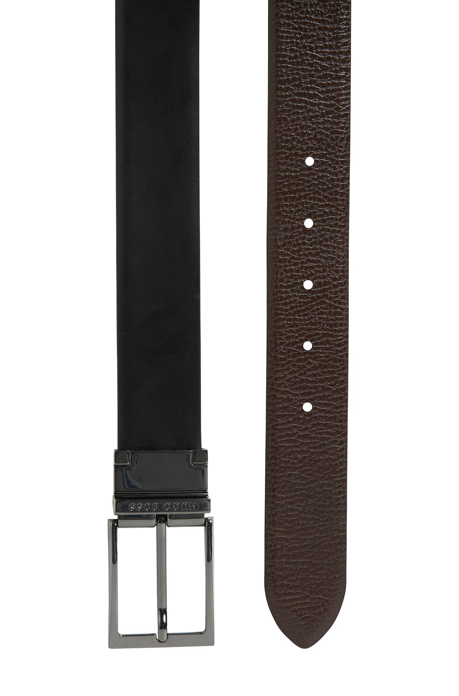 Wendegürtel aus Kontrastleder mit Logo-Gravur am Steg, Schwarz