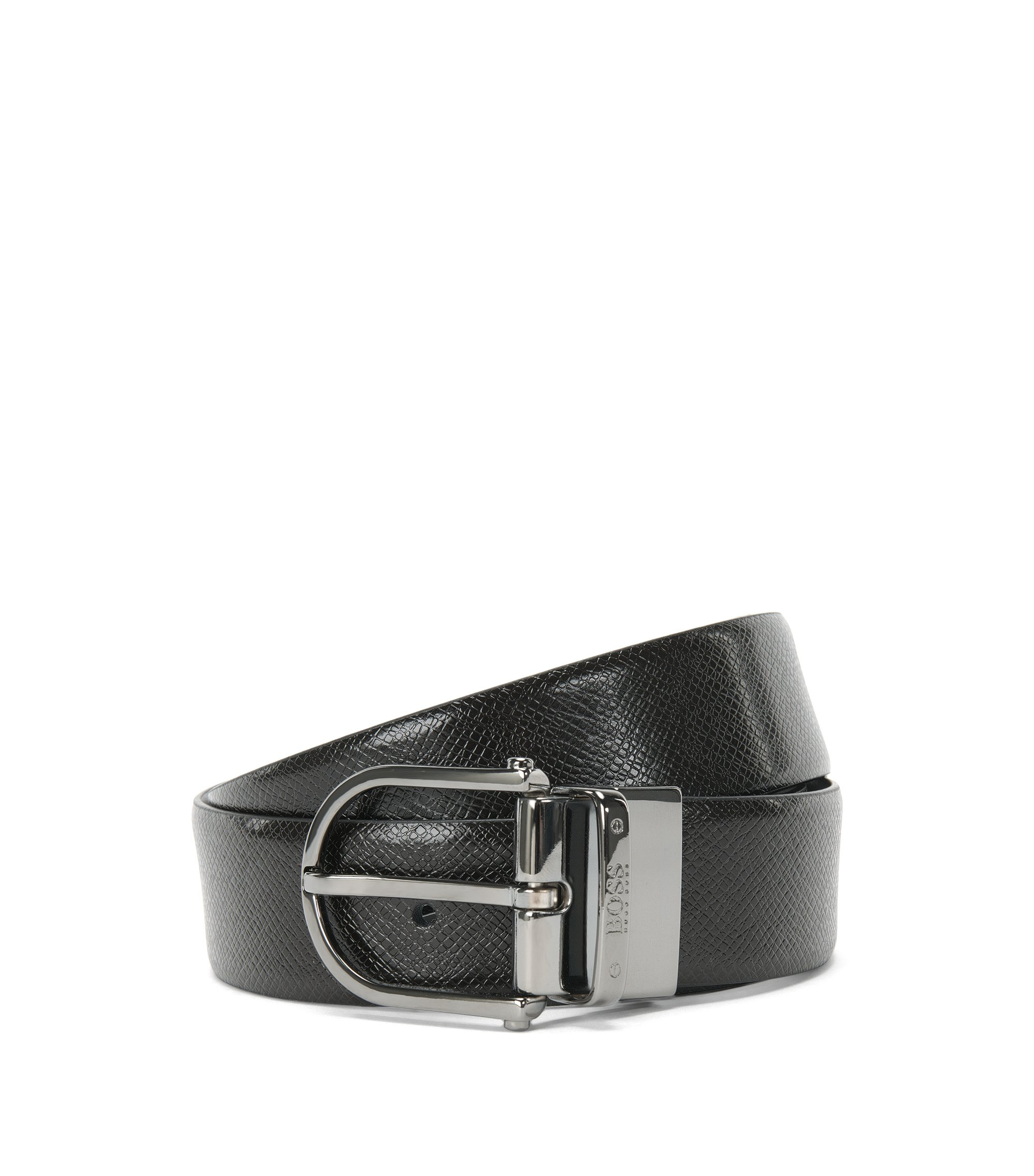 Reversible leather belt with a pin buckle: 'Otis_Or35_ps', Black