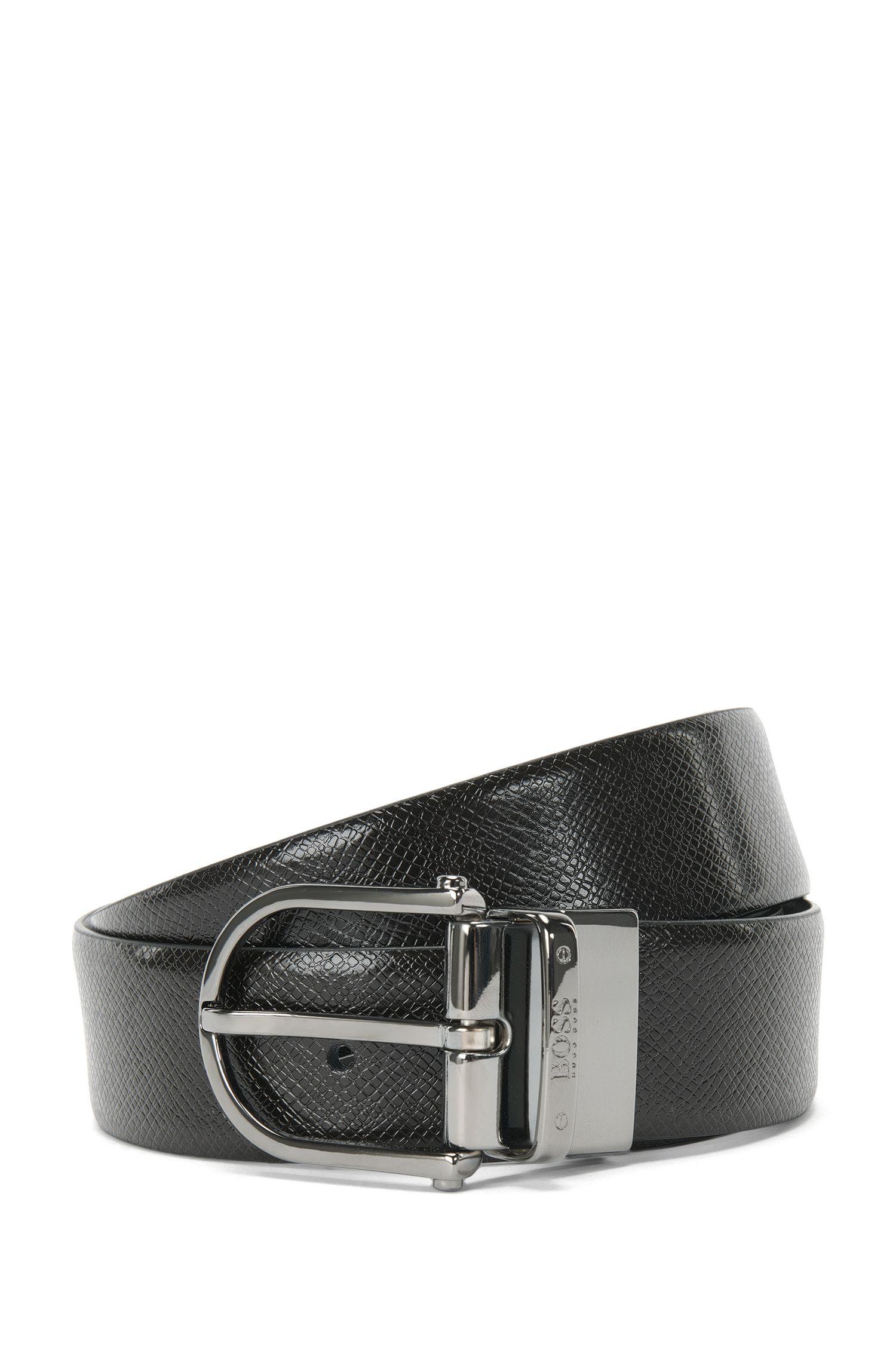 Cintura double-face in pelle con fibbia ad ardiglione: 'Otis_Or35_ps'