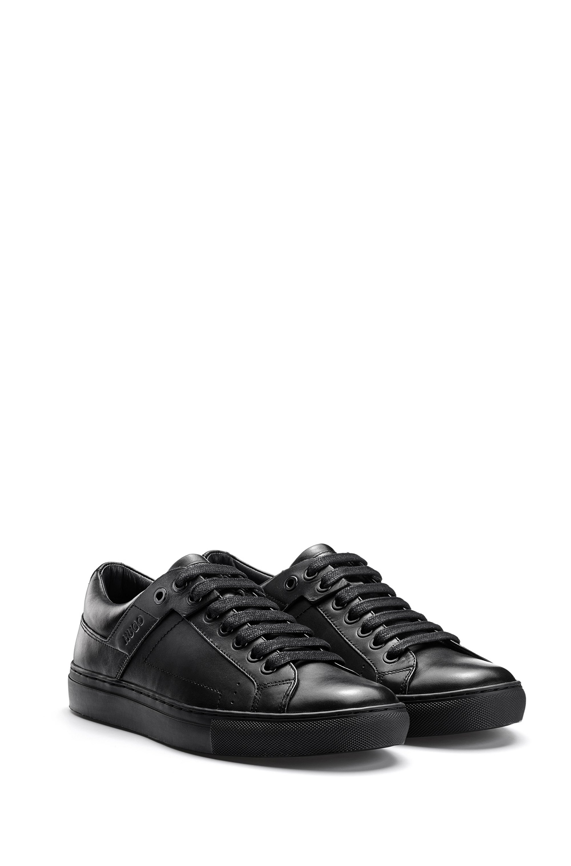 Tennis-inspired trainers in nappa leather with rubber sole