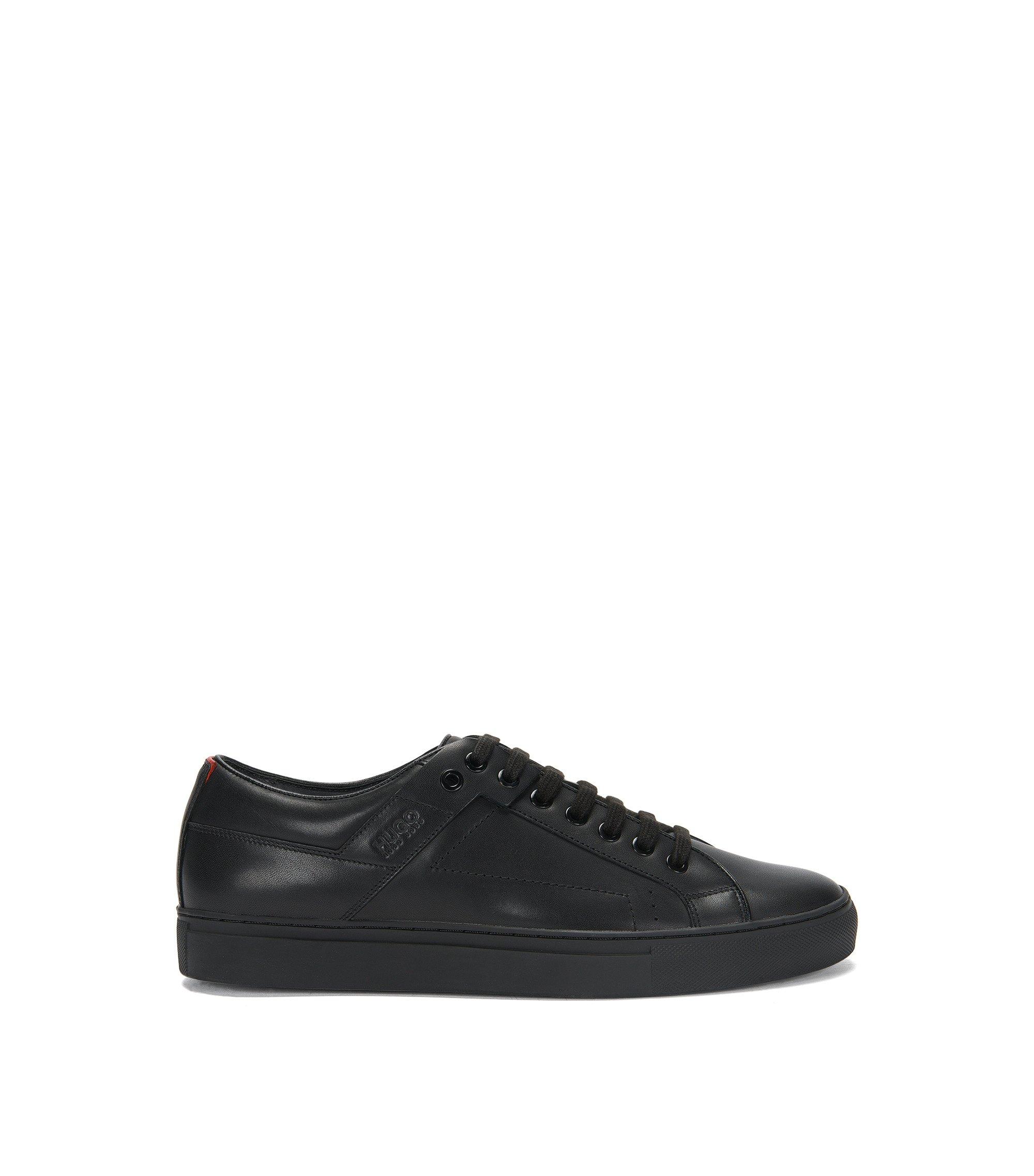 Sneakers aus softem Nappaleder mit Schnürung, Schwarz