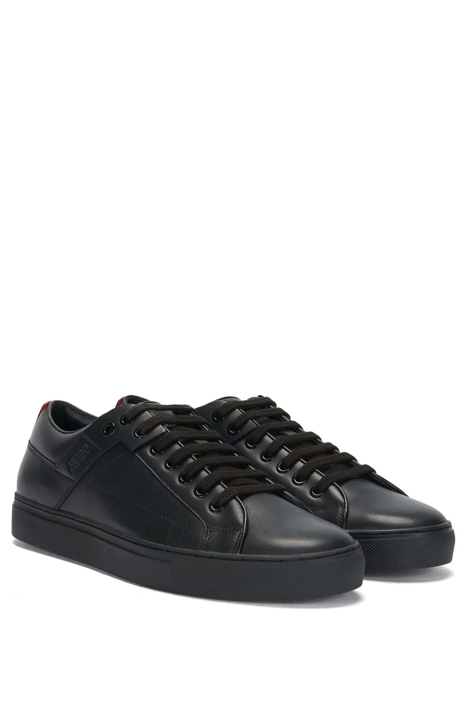 Lace-up trainers in smooth nappa leather, Black