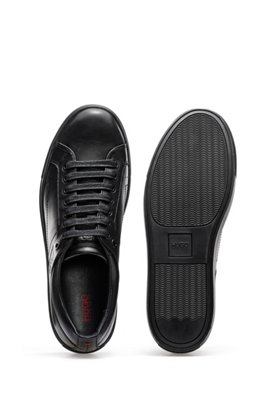 Tennis-inspired trainers in nappa leather with rubber sole, Black