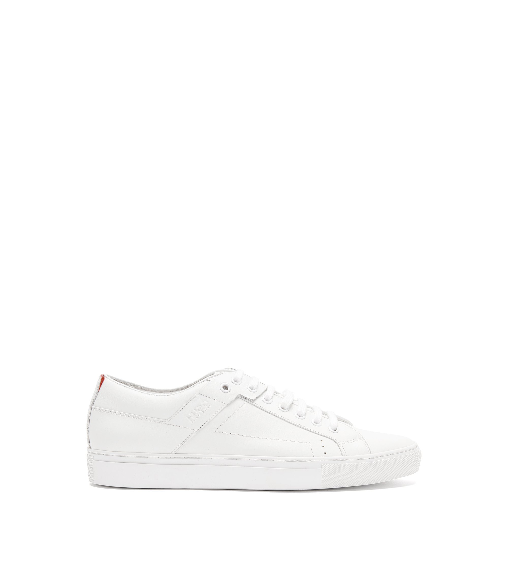 Lace-up trainers in smooth nappa leather, White