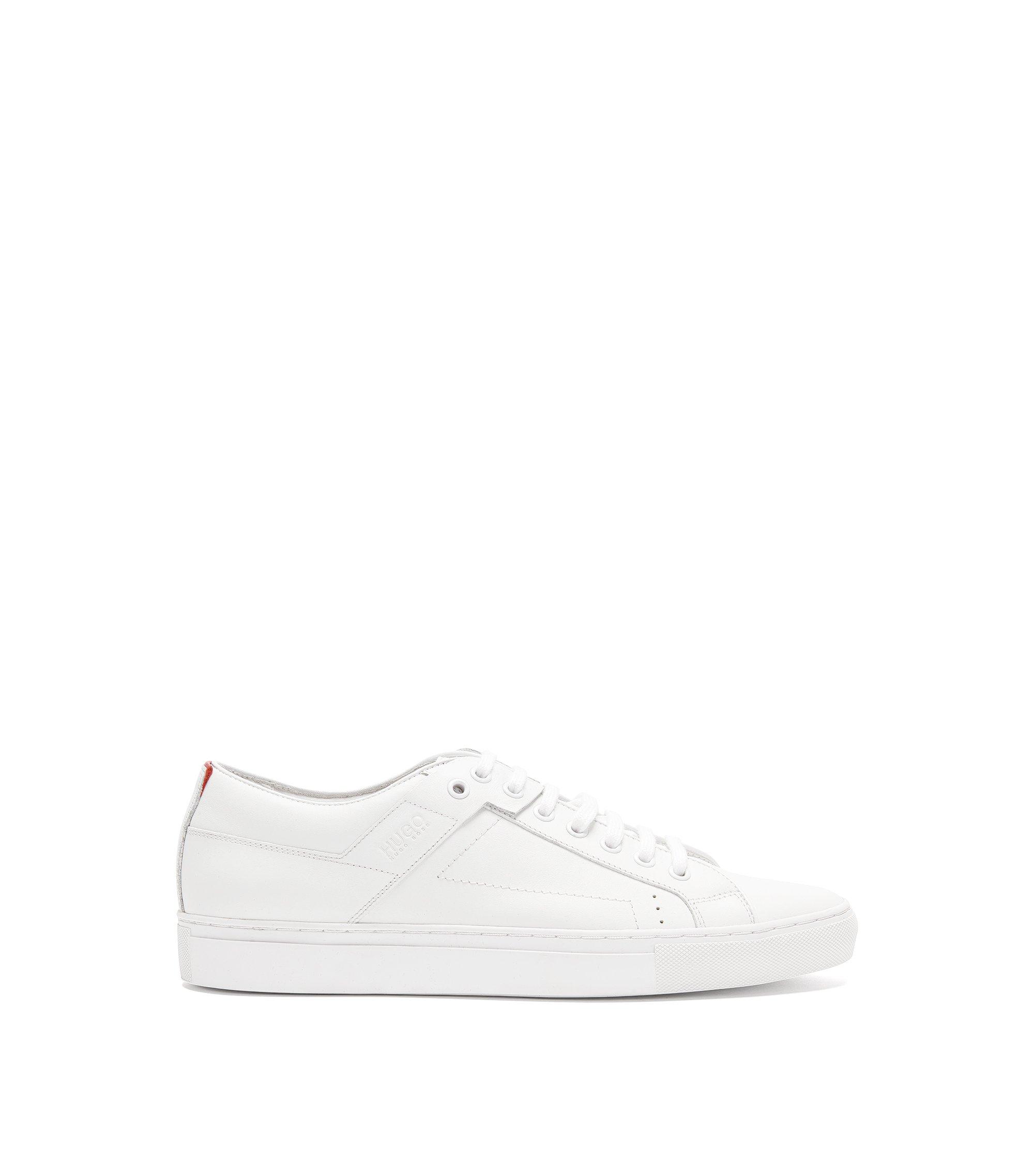 Sneakers aus softem Nappaleder mit Schnürung, Weiß
