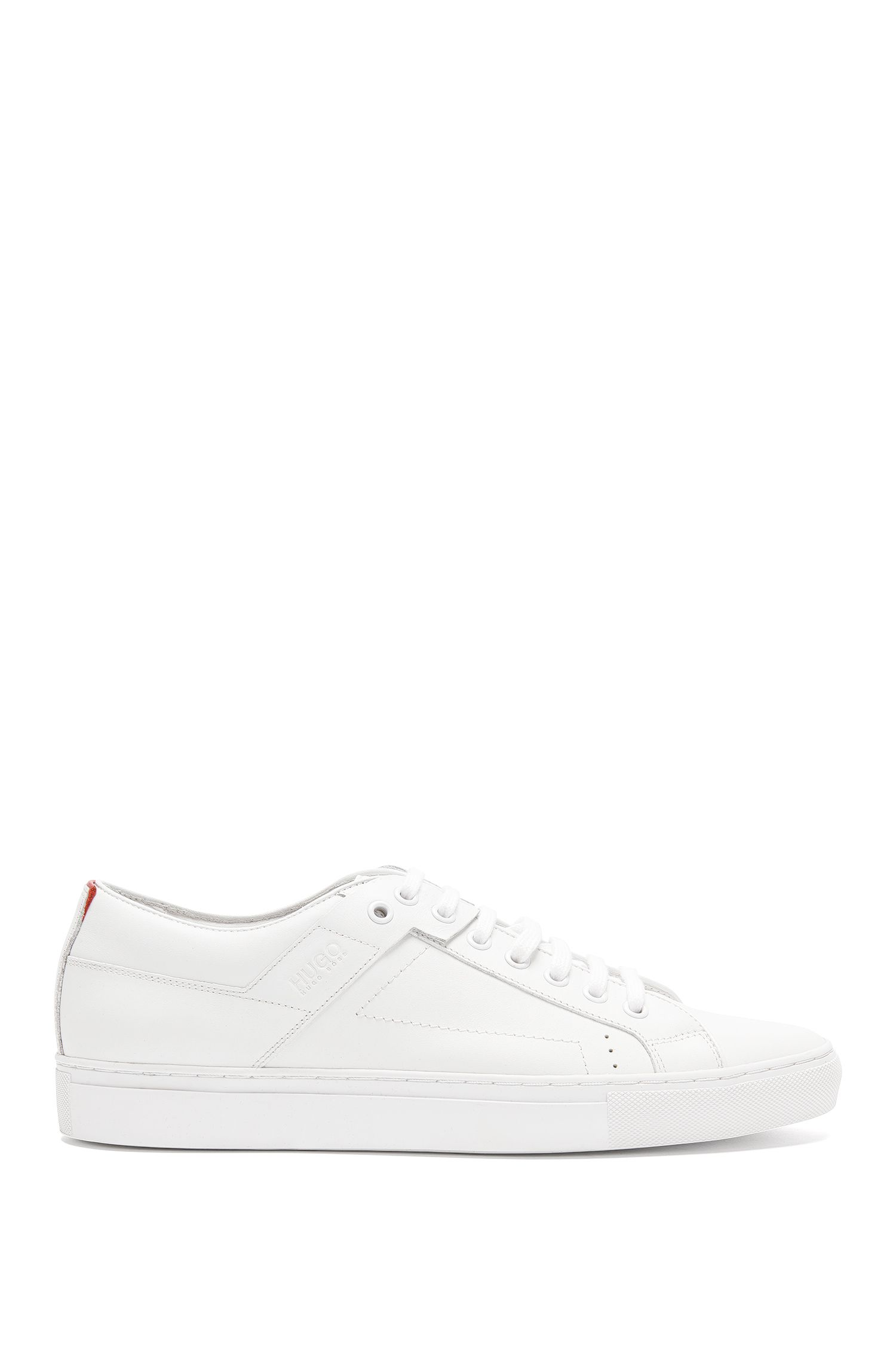 Sneakers stringate in pelle nappa liscia