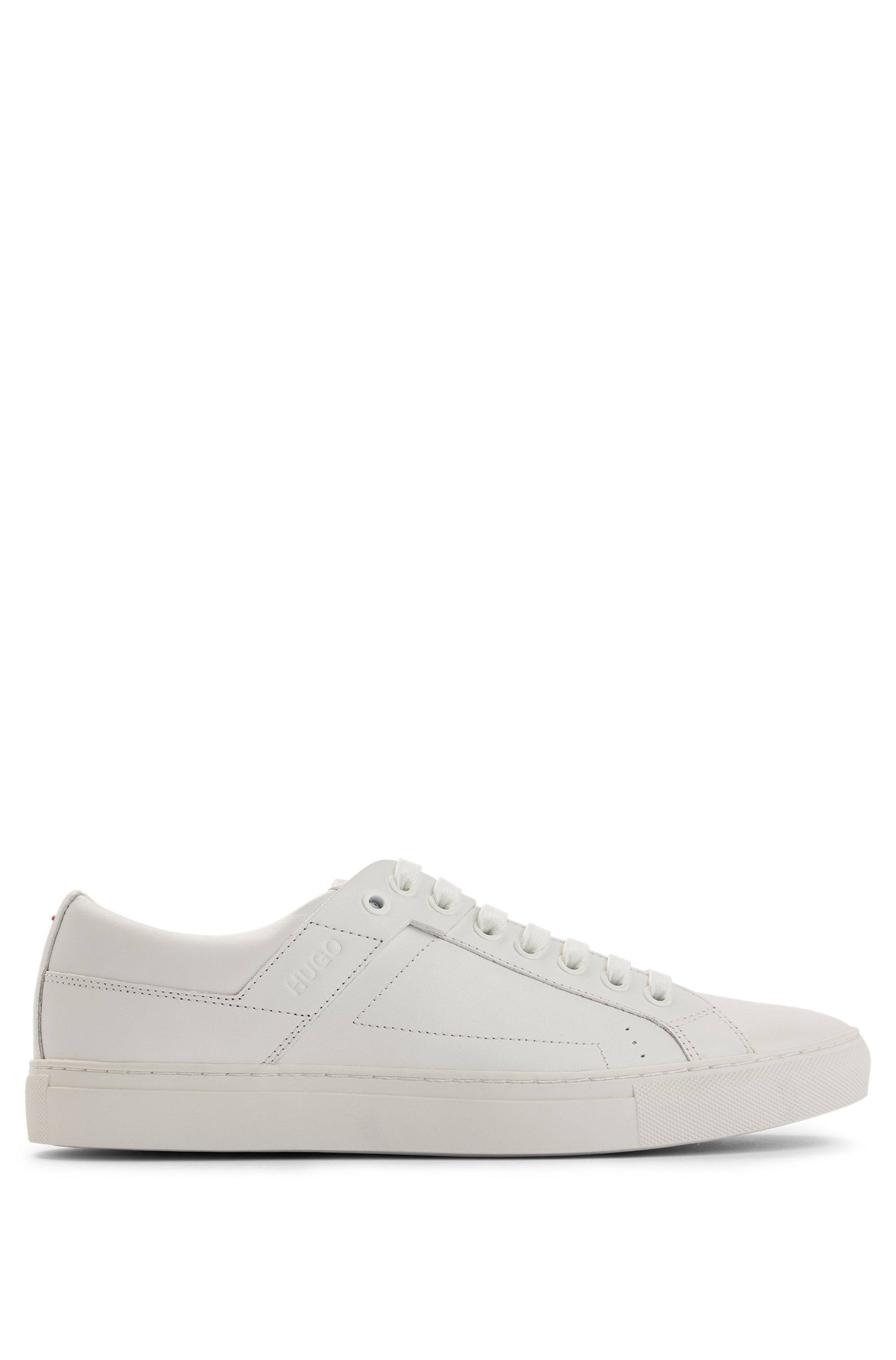 Sneakers in tennisstijl van nappaleer met rubberzool, Wit