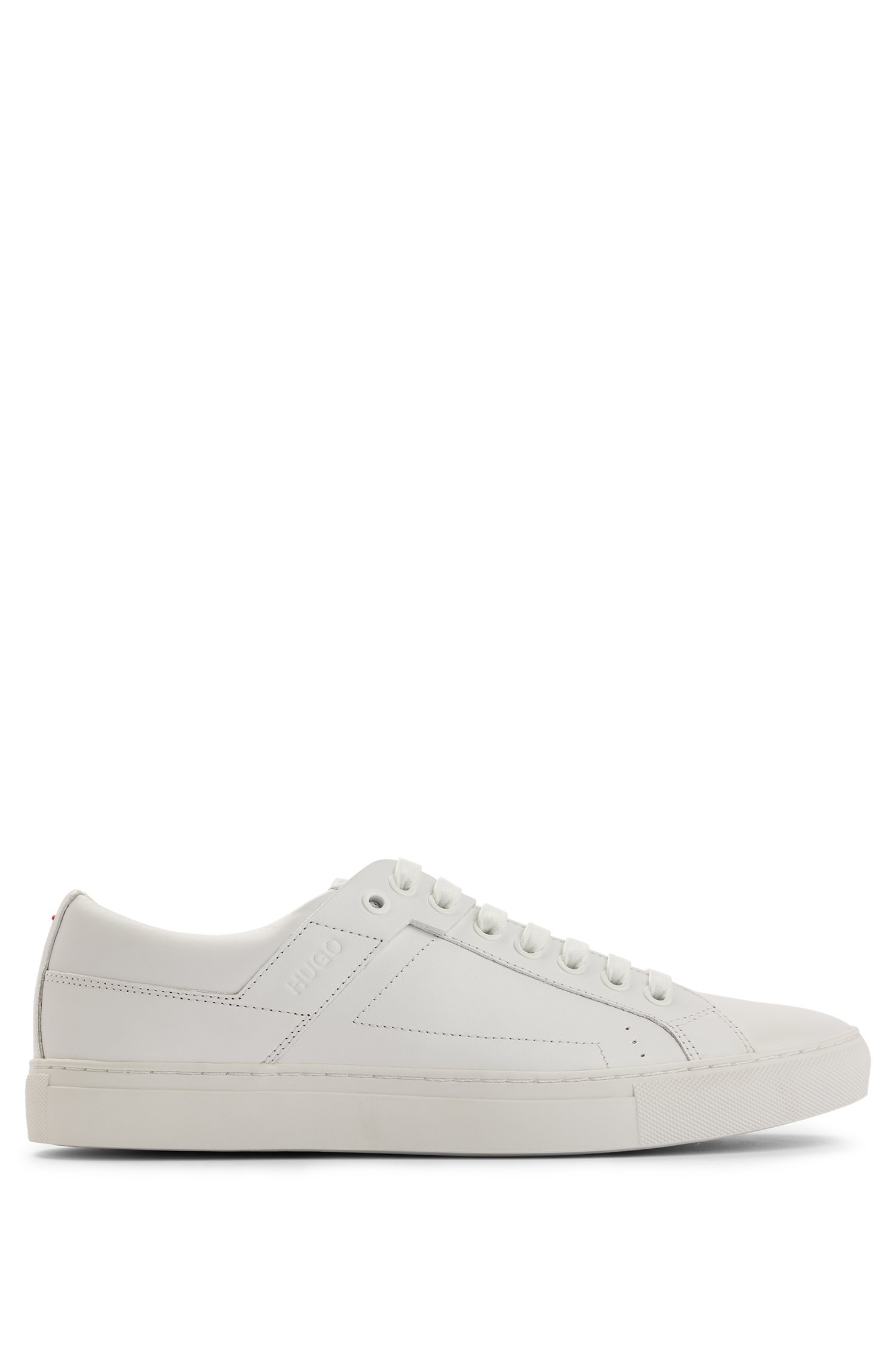 Tennis-inspired trainers in nappa leather with rubber sole, White
