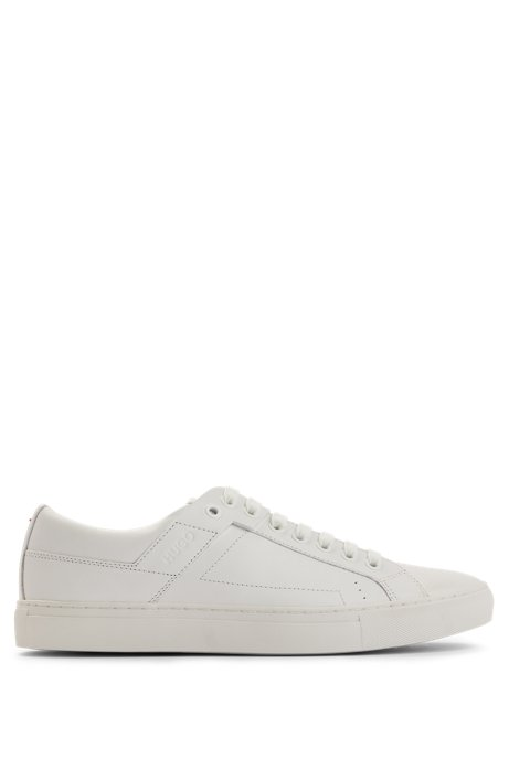 Tennis-inspired trainers in nappa leather, White