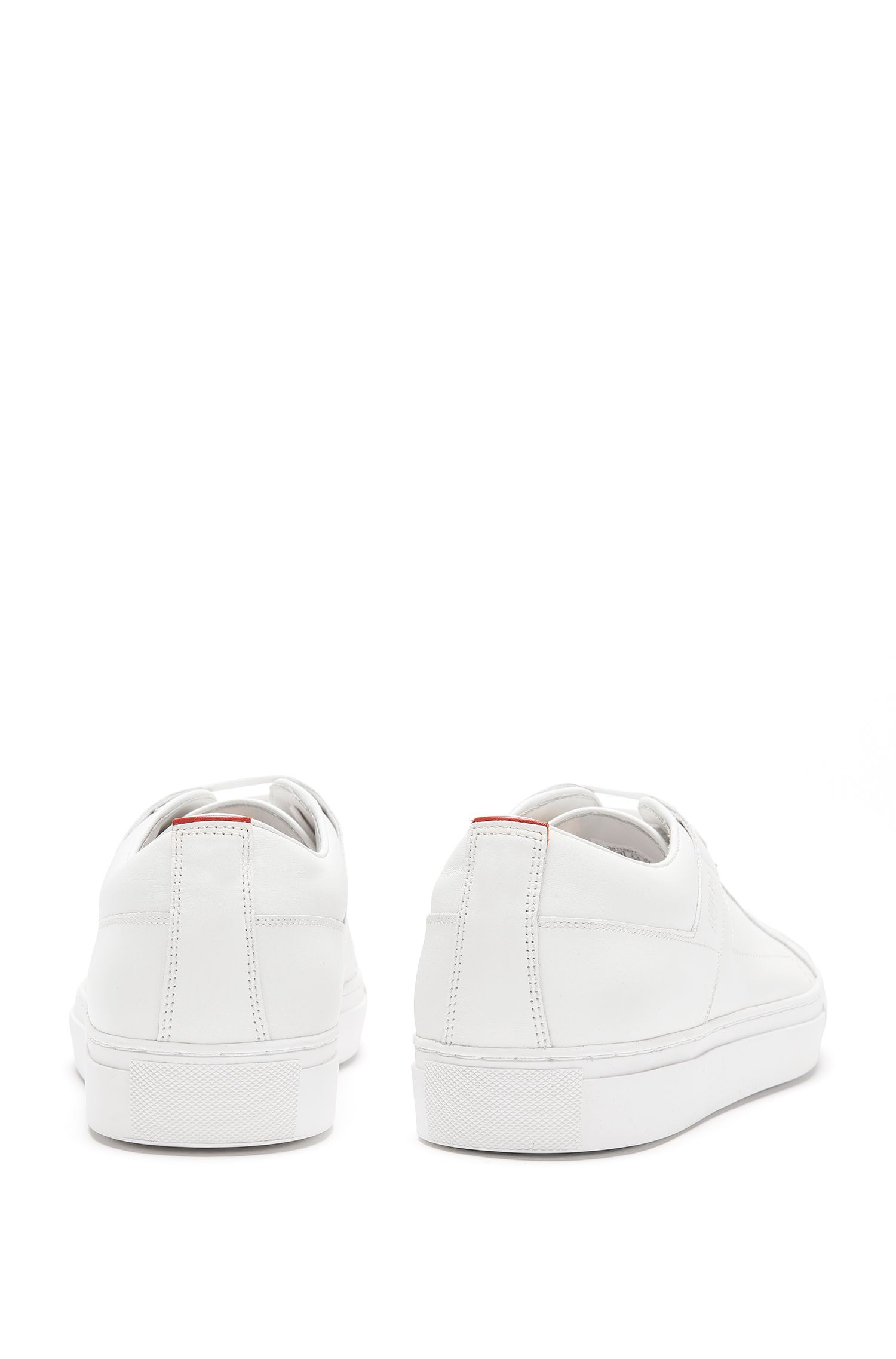 Sneakers stringate in pelle nappa liscia, Bianco