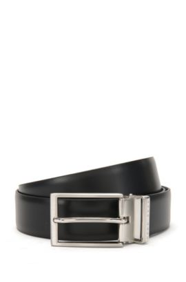 Reversible belt in smooth leather with 2 buckles: 'Gale_Gb35_pp', Black
