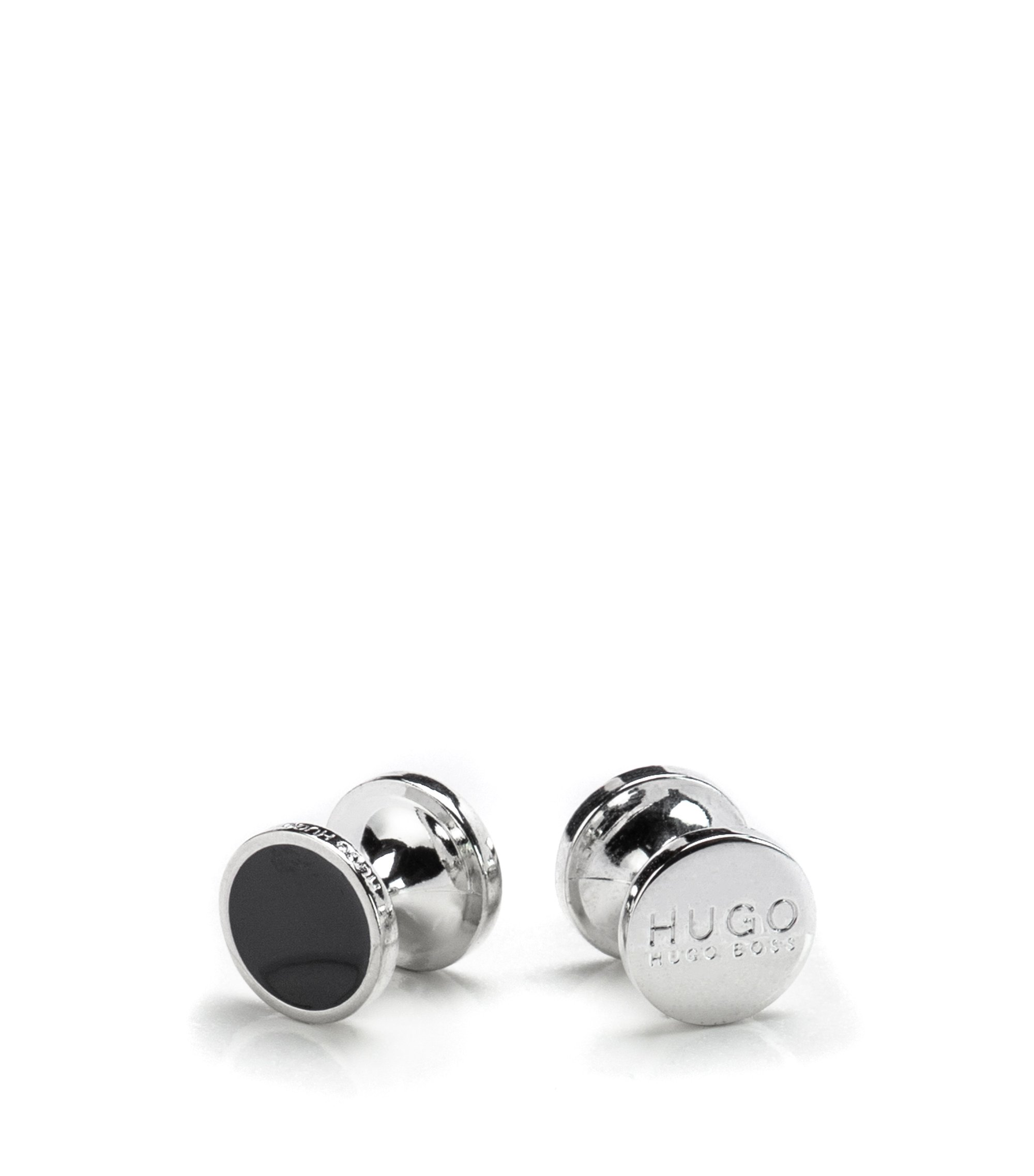 Round cufflinks with enamel detail , Black