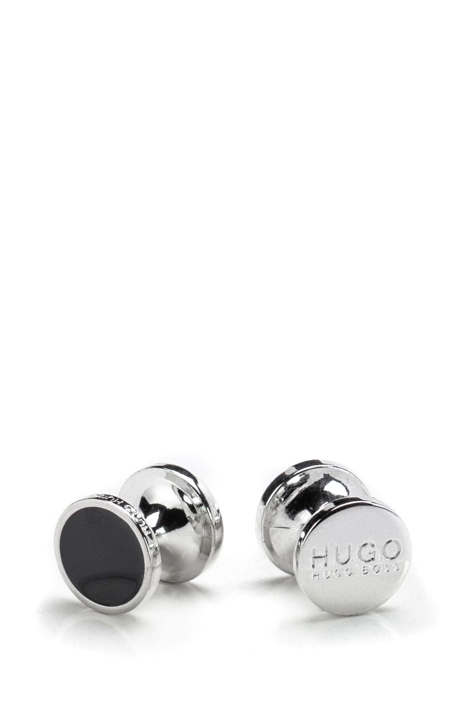 Round cufflinks with enamel detail , Black