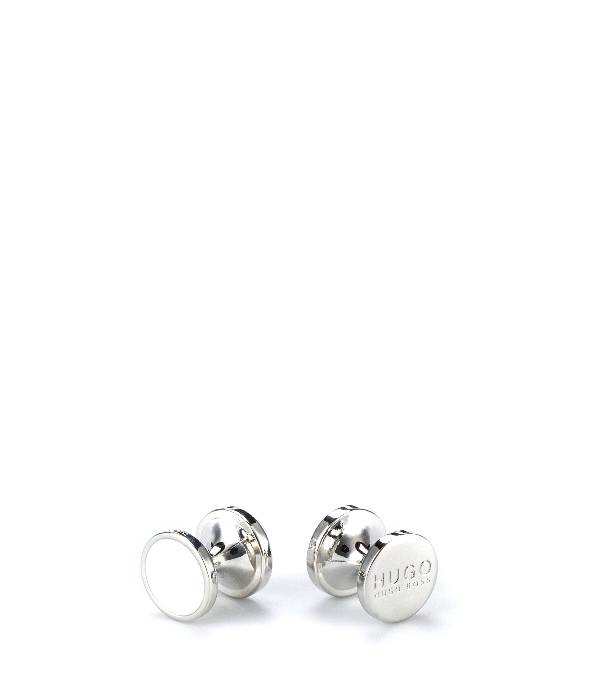 Round cufflinks with enamel detail , Natural