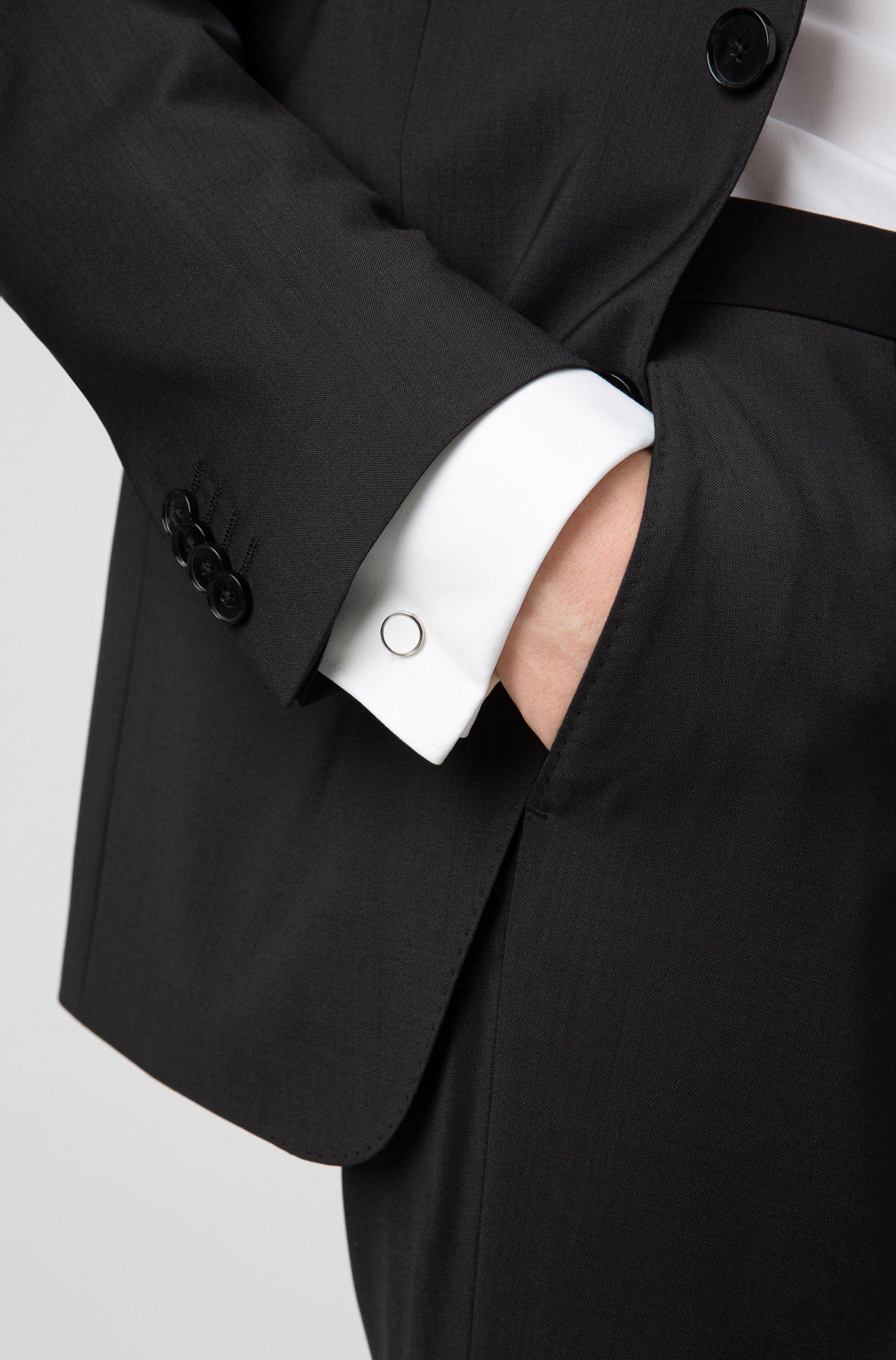 Round cufflinks with enamel detail