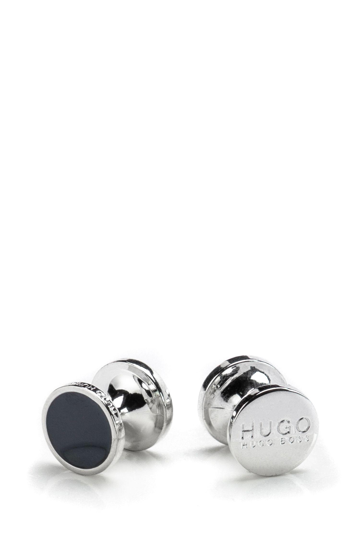 Round cufflinks with enamel detail , Dark Blue