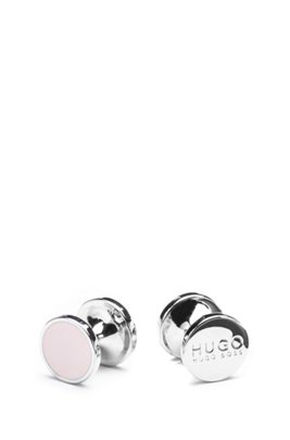 Round cufflinks with enamel detail , light pink