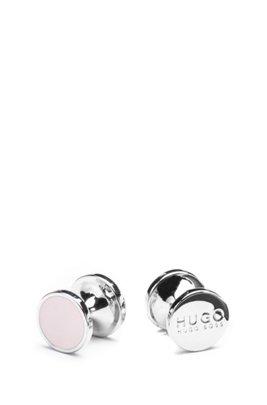 Round cufflinks with enamel detail , light pink