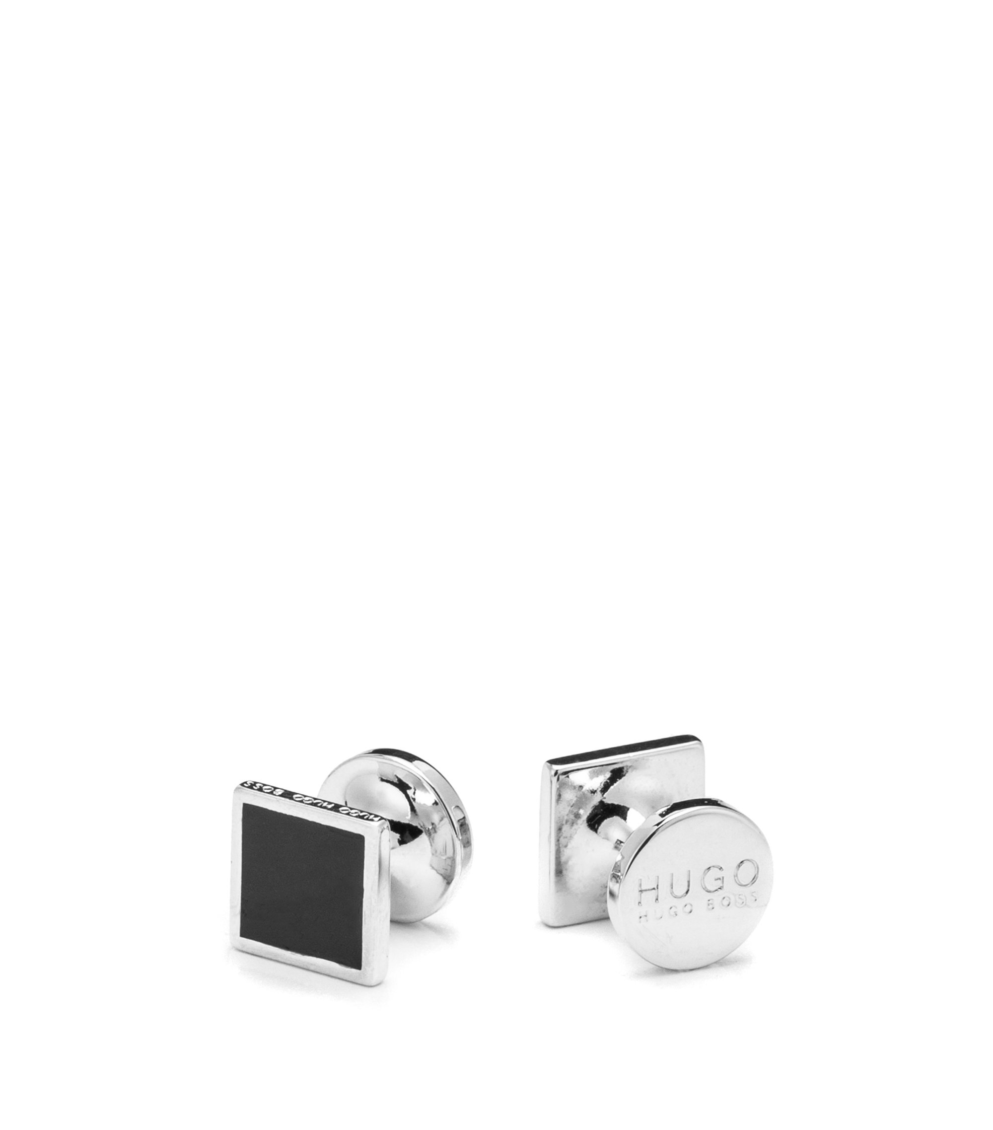 Square cufflinks with enamel detail, Black