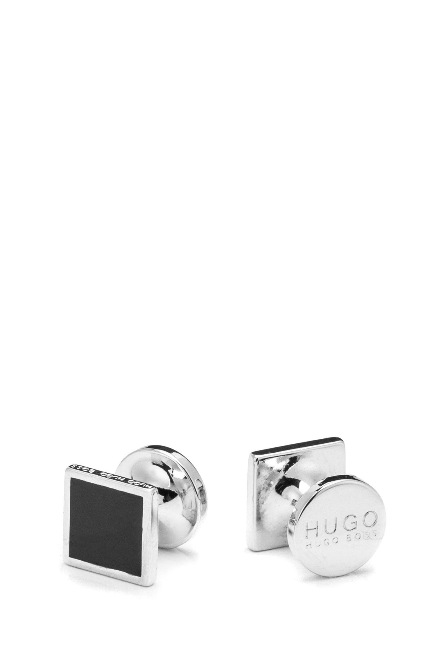 Viereckige Manschettenknöpfe aus Zink mit Emaille-Detail, Schwarz