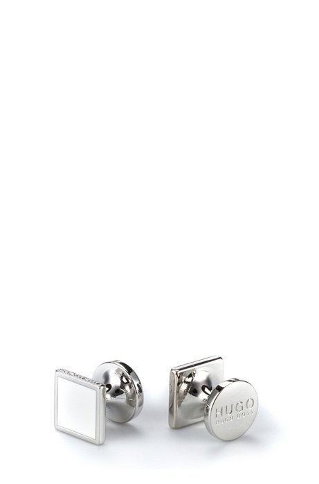 Square cufflinks with enamel detail, Natural