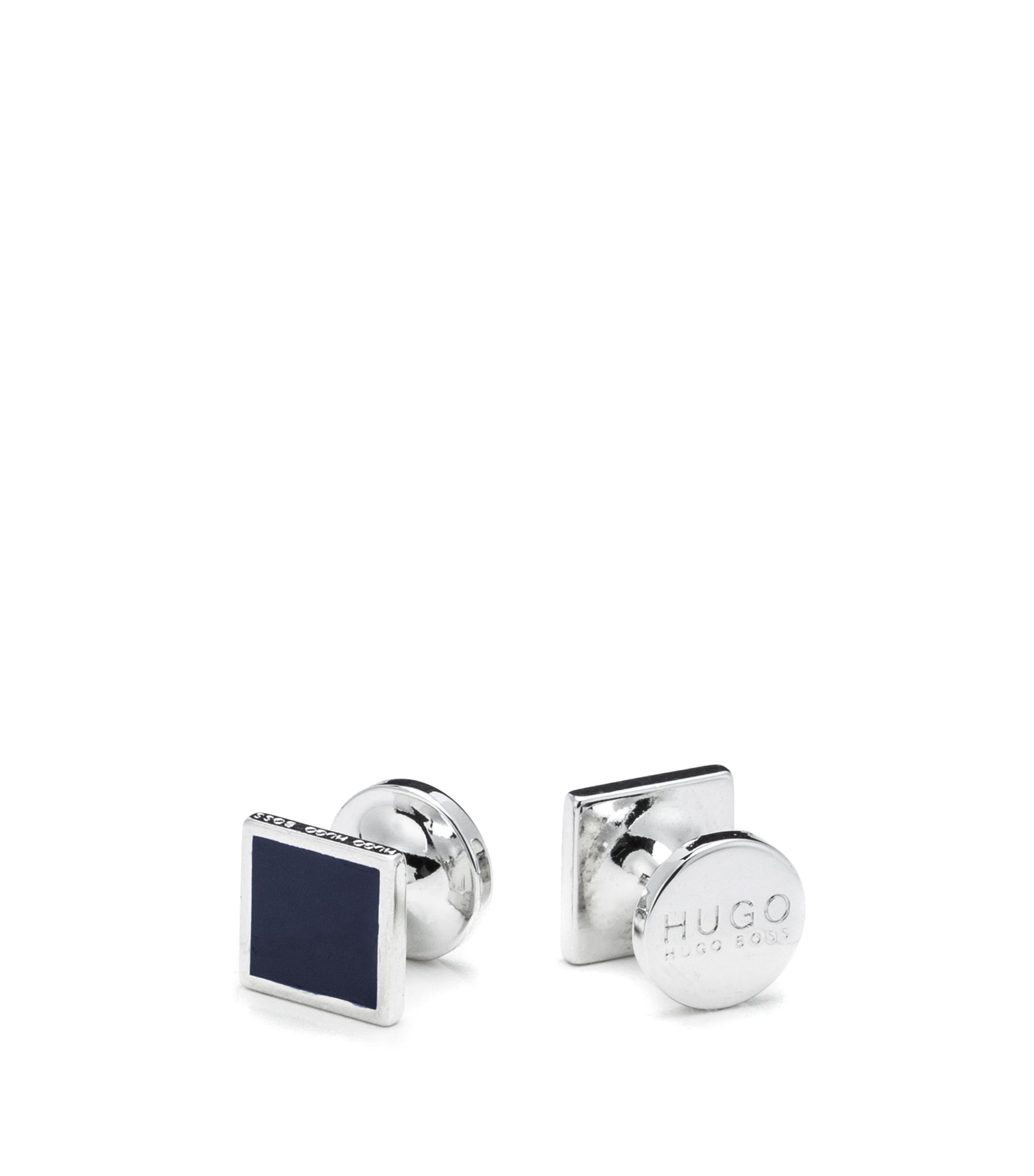 Square cufflinks with enamel detail, Dark Blue