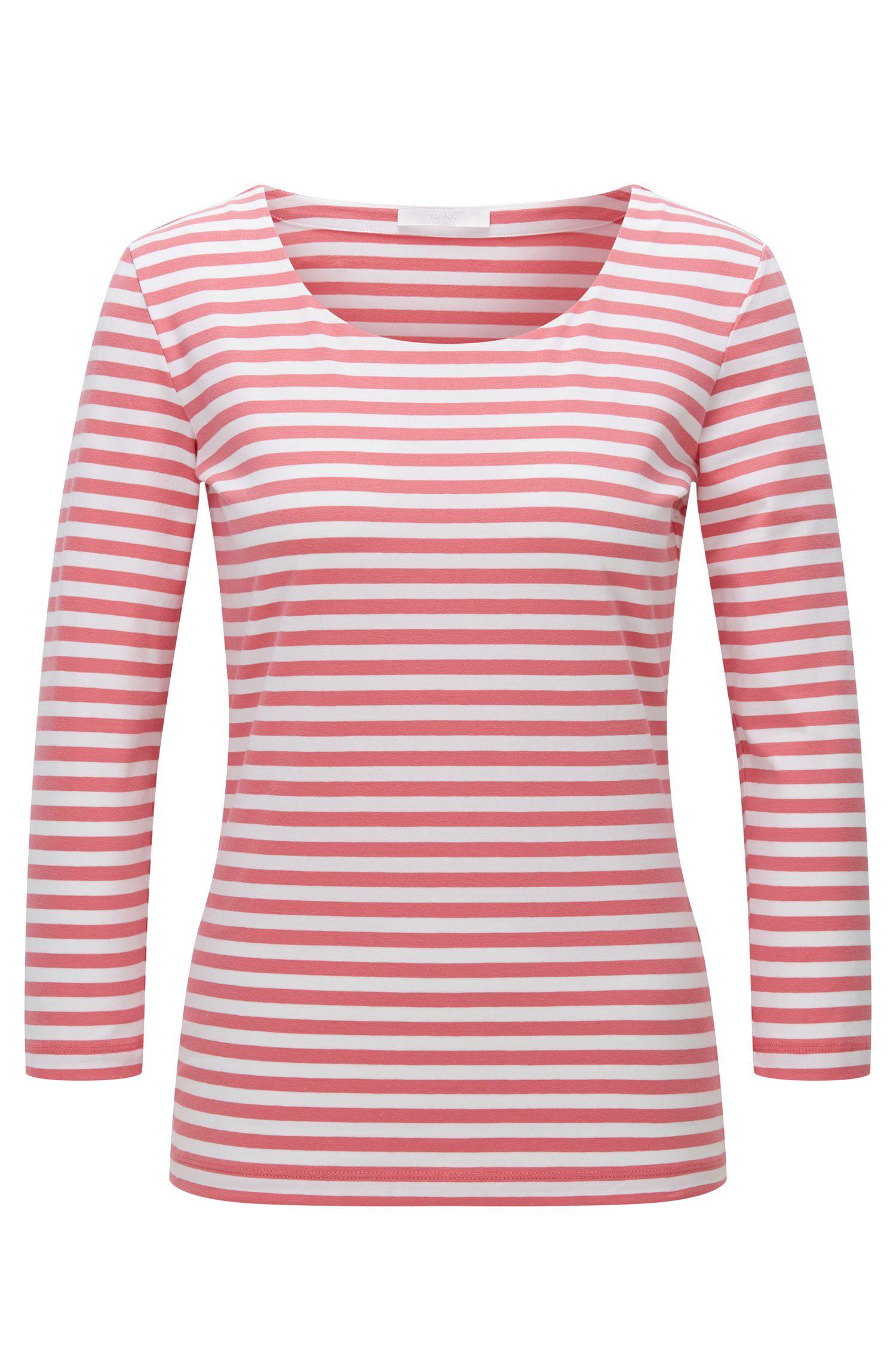 Camiseta regular fit en punto sencillo de algodón elástico