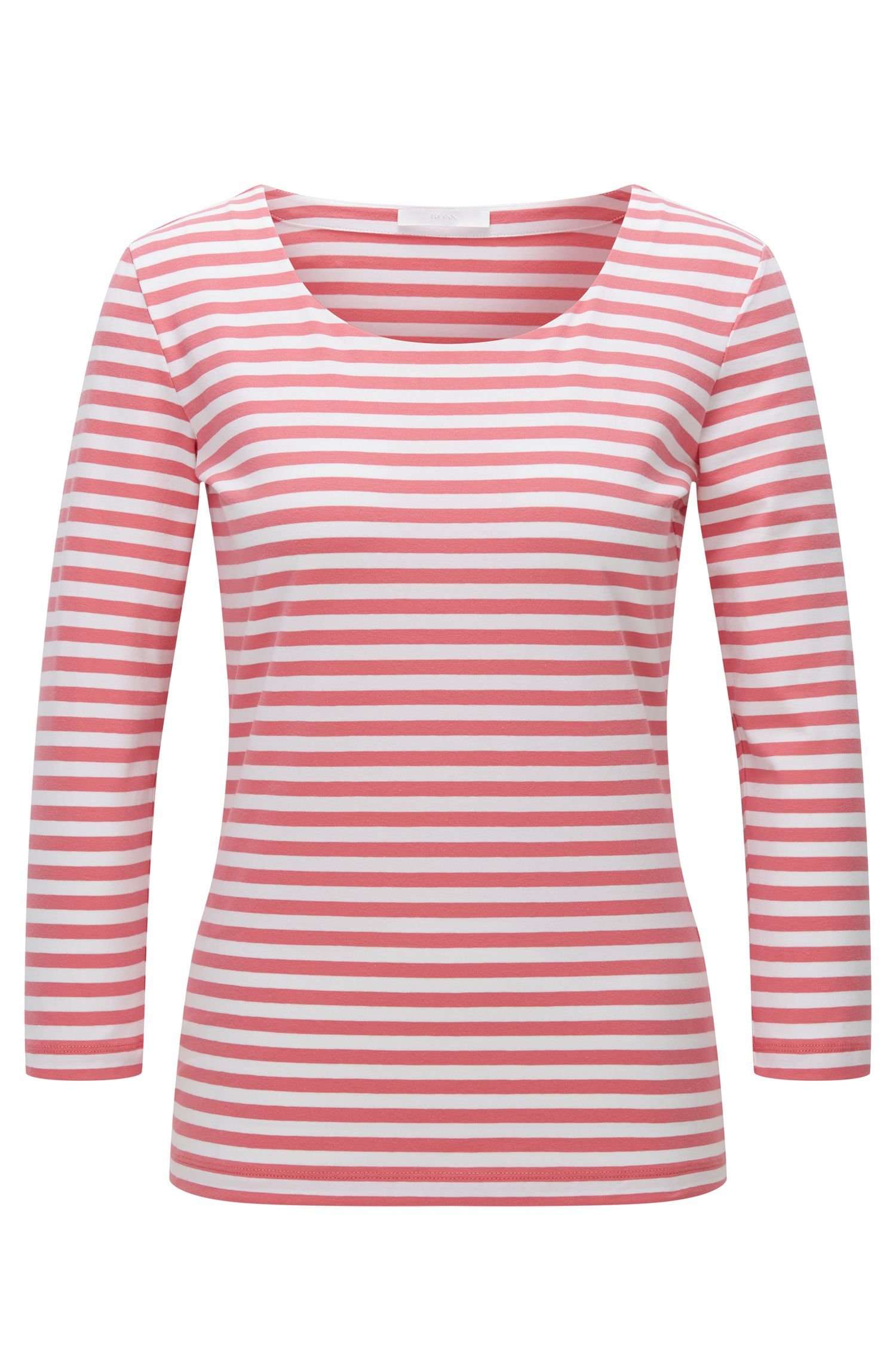 T-shirt regular fit in jersey singolo di cotone elasticizzato