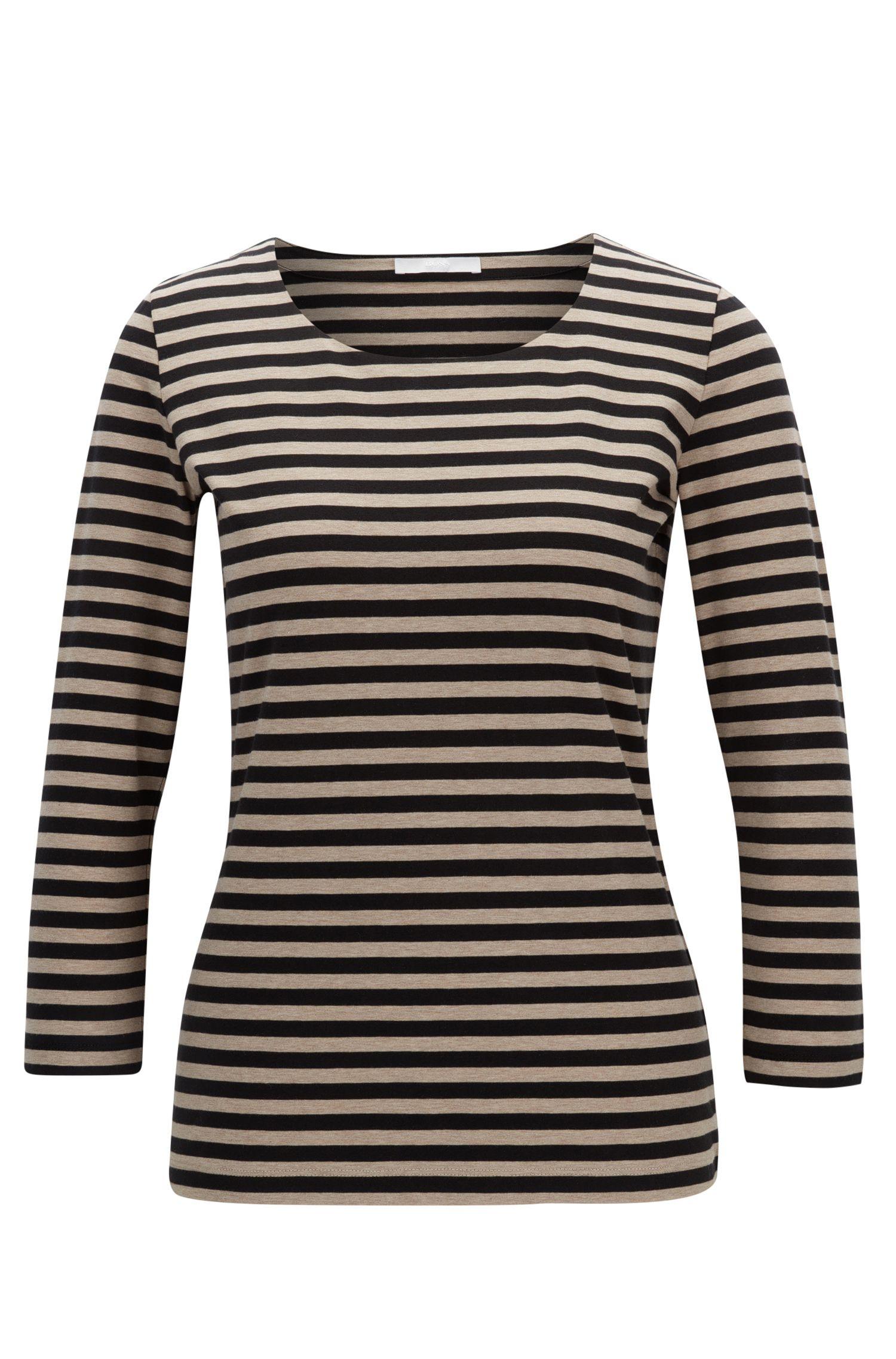 T-shirt regular fit in jersey singolo di cotone elasticizzato